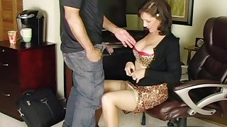 Sexy MILF Roni sucks, jerks, fucks and takes a beautiful cumshot